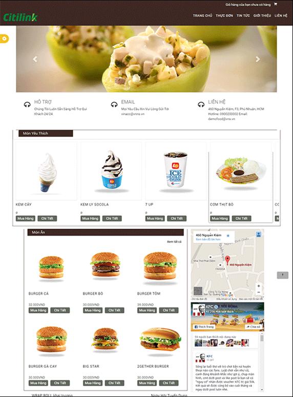 Giao diện web ăn uống