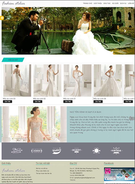 Giao diện web áo cưới