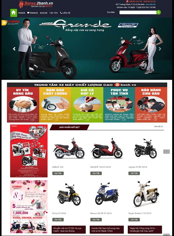 Giao diện web đại lý xe máy