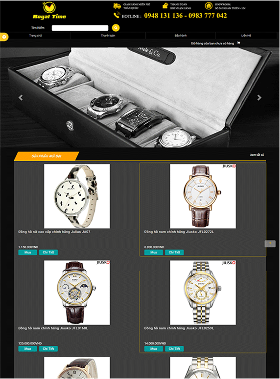 Giao diện web đồng hồ trên mobile