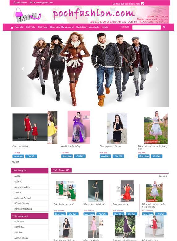 Giao diện web fashion