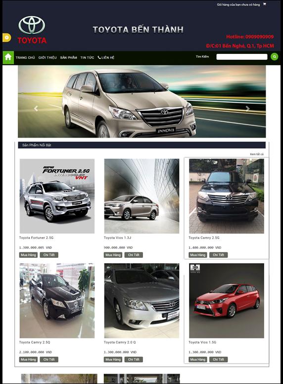 Giao diện web ôtô, xe hơi