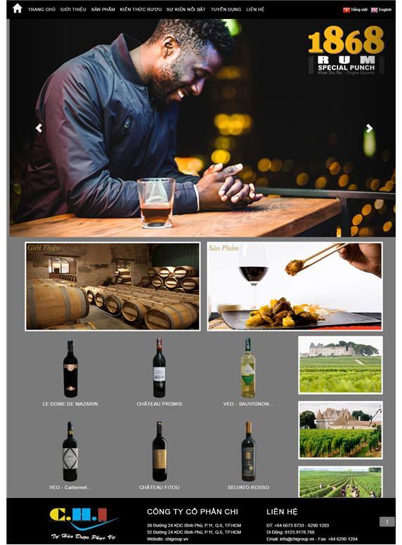 Giao diện web rượu Chi