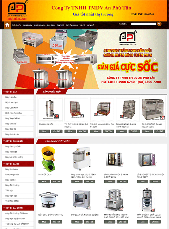 Giao diện web thiết bị bếp An Phú Tân