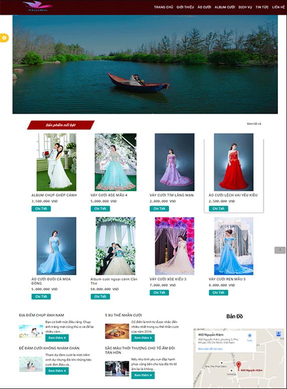 Giao diện web thời trang áo cưới