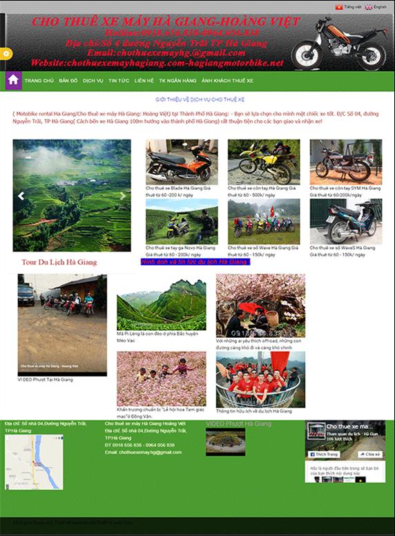 Giao diện web xe máy